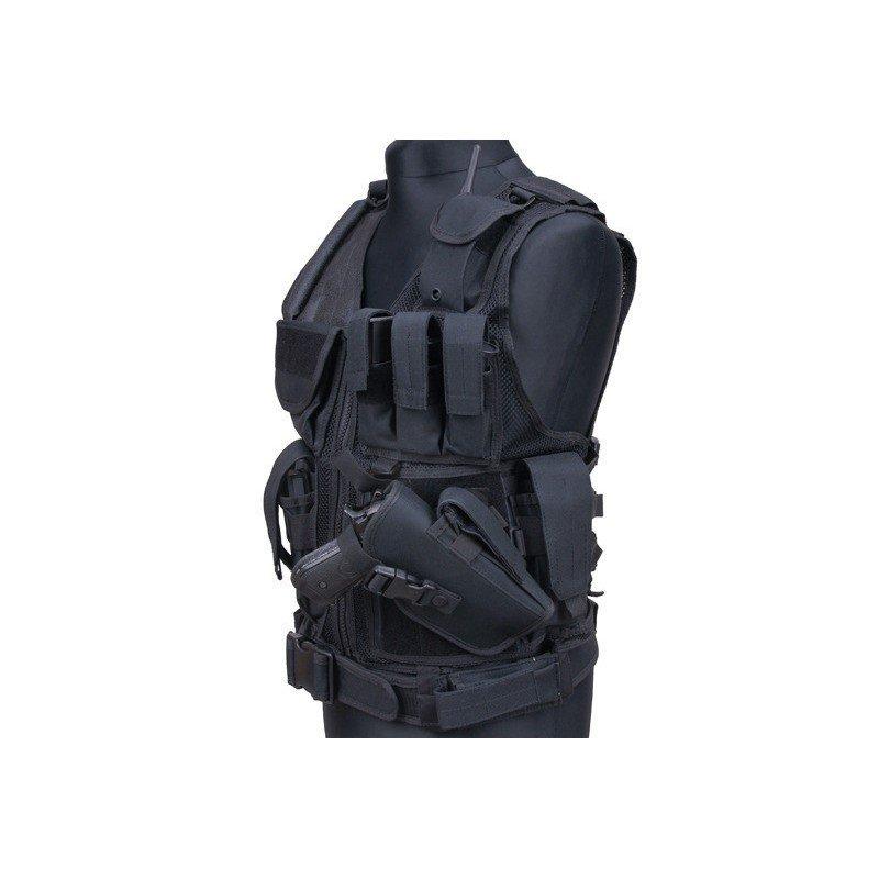 Veste tactique holster multi poches noir for Housse gilet pare balle gk