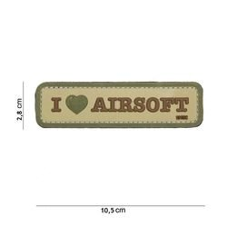 Patch 3D PVC I love AIRSOFT Désert